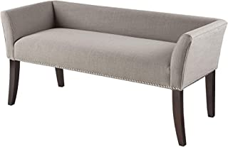 Madison Park Welburn Bedroom Solid Wood Polyester Fabric Seating Modern Style, Accent Bench Ottoman Grey