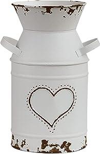 VANCORE Shabby Chic Vase White Milk Can Galvanized Vase Metal Jug French Rustic Bucket Farmhouse Decor