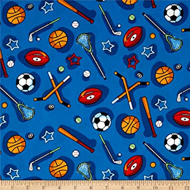 Santee Print Works Kid's Choice Sports Allover Blue Multi Fabric by the Yard