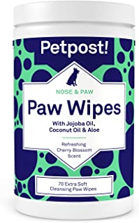 Petpost   Paw Wipes for Dogs - Cleans and Soothes Itchy Dog Paws - 70 Ultra Soft Large Cotton Pads in Coconut Oil, Jojoba Oil, and Aloe Cleaner