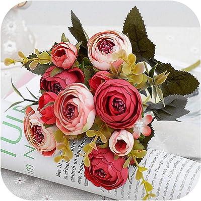 10ヘッド/ 1バンドルシルクティーローズ花嫁のブーケクリスマスホームウェディング新年装飾偽造植物造花-red-