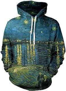 45fe11a5e3f881 E-Enrosnt Felpa con Cappuccio di Van Gogh The Starry Night Uomo Donna Tuta  Sportiva