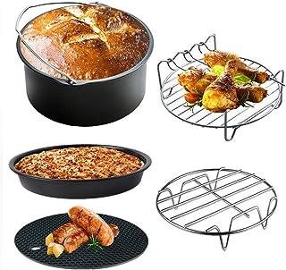 Akemaio Ensemble d'accessoires de friteuse à air de 5, friteuse à air de 6 Pouces avec Plateau de Cuisson à Pizza Lave-Vai...