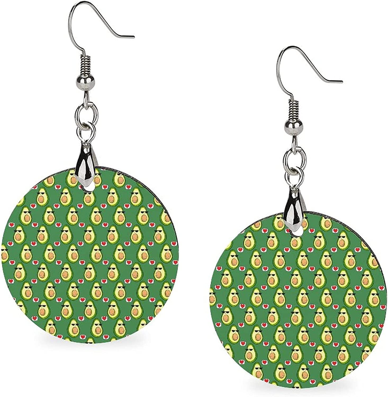 Wooden Circular Lightweight Drop Dangle Earrings Costume Accessories for Women