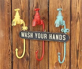Uncle SamLI@ Iron faucet design coat hooks, ,Wall-mounted,retro creative hanging hanger/ hook up/Key holder wall decoration,W 24cm H 8cm T 21cm
