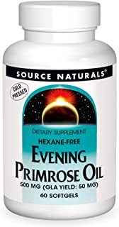 Source Naturals Evening Primrose Oil - Hexane-Free - 500mg - GLA Yield: 50 mg - Cold-Pressed - 60 Softgels