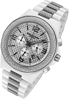 White Explosion Ceramic and Silver Carbon Fiber Men's Chronograph Watch