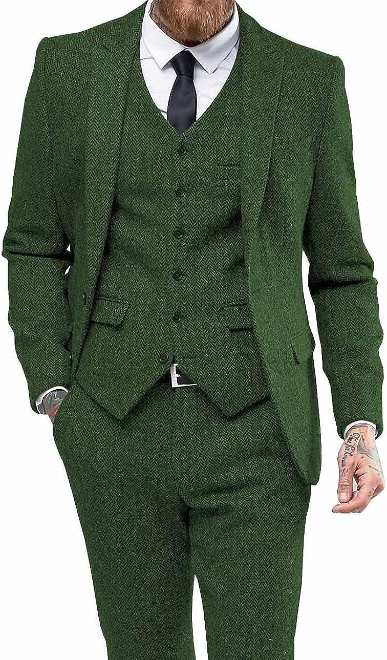Furuyal Men's 3 Pieces Suit Herringbone Tweed Groom Tuxedos Casual Business Jacket Vest Pants Set