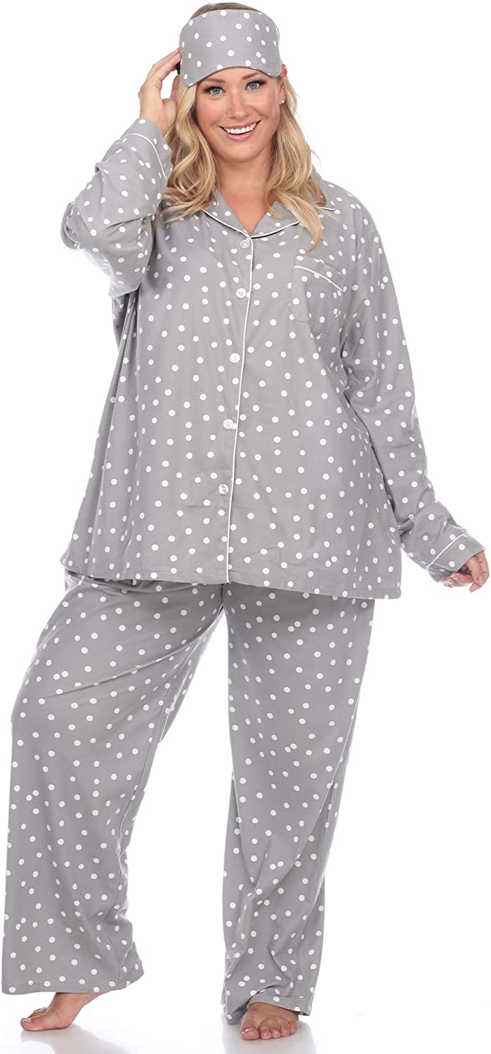 white mark Women's Plus Size Printed Flannel Pajama Japan's largest assortment Set with Very popular Eye