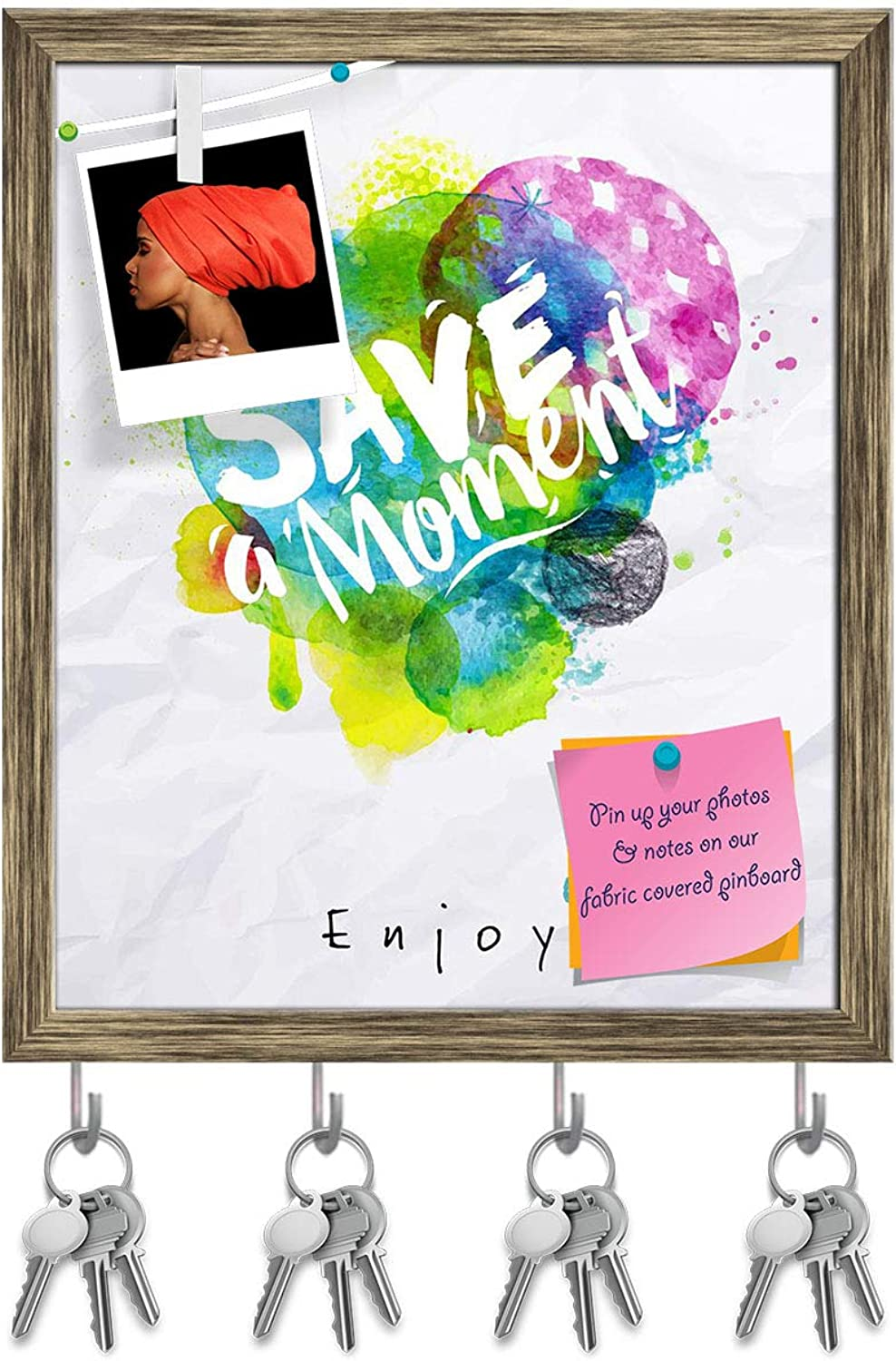 Artzfolio Save The Moment Key Holder Hooks   Notice Pin Board   Antique golden Frame 16 X 19.2Inch