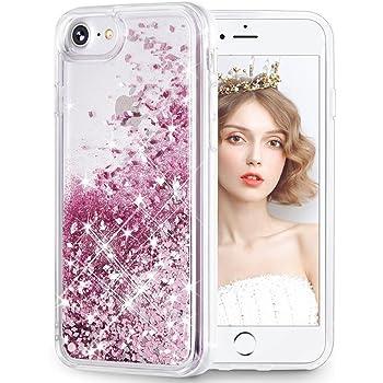 wlooo Hülle iPhone 7 Glitzer, Hülle für iPhone SE 2020, iPhone 6 6s 7 8 Glitzer Handyhülle, Glitter Flüssig Treibsand Weich Silikon TPU Bumper Original Schutzhülle Mädchen Frauen Case (Rose Gold)