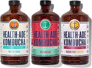 Health-Ade Kombucha Tea Organic Probiotic Drink, 12 Pack Case (16 Fl Oz Bottles), Paradise Variety Pack (Tropical Punch, W...