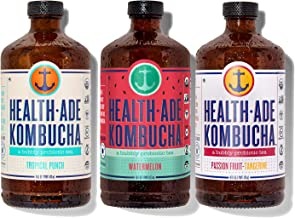 Health-Ade Kombucha Tea Organic Probiotic Drink, 12 Pack Case (16 Fl Oz Bottles), Paradise Variety Pack (Tropical Punch, W...