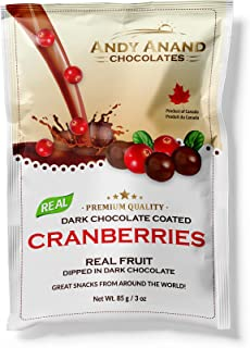 Andy Anand's Chocolates - Premium California Cranberries covered with Vegan Rich Dark Chocolate, All-Natural and certified Made from Natural Ingredients (2 Pack 3 oz)