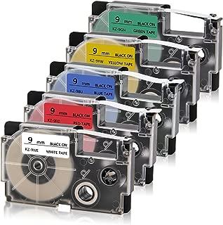 Absonic XR-9WE XR-9RD XR-9BU XR-9YW XR-9GN Labeling Tape Cassette Compatible for Casio KL-60 KL60SR KL-100 KL-120 KL-750 KL-780 KL-7000 KL-8100 KL-8200 KL-HD1 Label Maker, 3/8