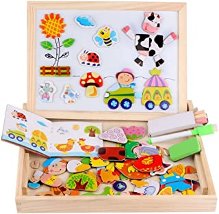Diwenhouse Wooden Magnetic Jigsaw Puzzles Toy, Toddler Toys Educational Travel Puzzle Games Double Sided Drawing Easel for Boys and Girls (Farm)