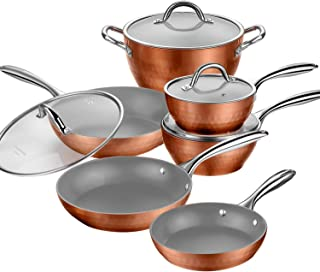 AMERICOOK Nonstick Pots and Pans Set, 10-Piece Copper Cookware Set, Includes: Nonstick Frying Pans, Sauce pans, Saute Pan, Casserole with Glass Lids for Stovetops and Induction Cooktops, Oven Safe