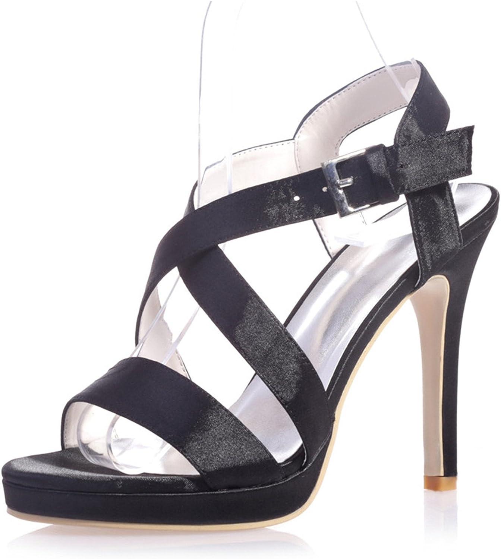 Ellenhouse Women's Bridal shoes Satin Stiletto Heel Open Toe Pumps shoes EH055