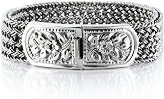VY JEWELRY 925 Sterling Silver Men Braided Wide Bracelet - Made in Thailand