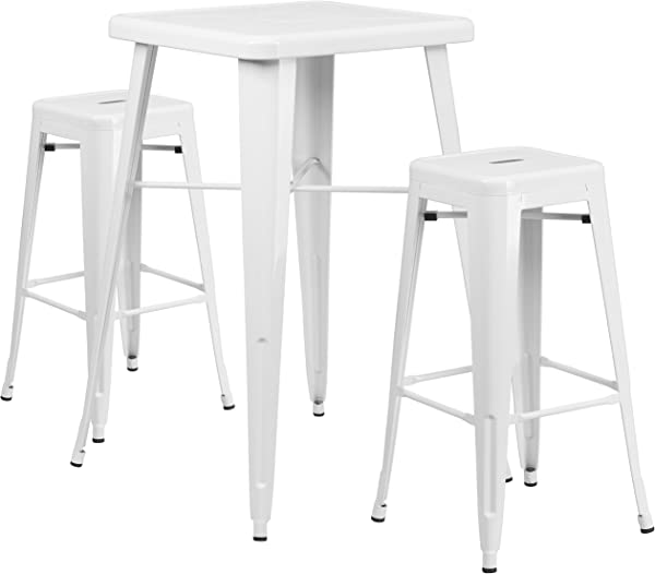 Flash Furniture 23 75 Square White Metal Indoor Outdoor Bar Table Set With 2 Square Seat Backless Stools