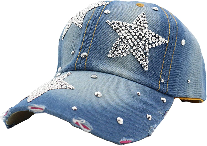 Andongnywell Women Bling Jeans Baseball Cap Rhinestone Stars Denim Hat Crystal Distressed Hats