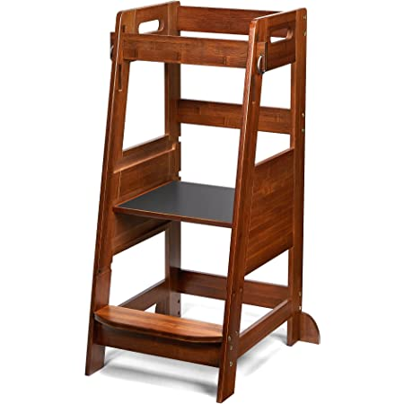 TOETOL Bamboo Toddler Kitchen Step Stool Helper Standing Tower Height Adjustable with Anti-Slip Protection