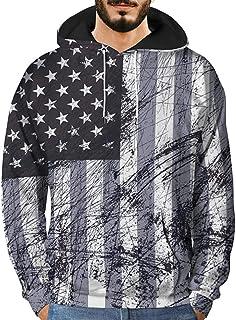 Mens 3D Printed Flag Graffiti Hoodie Balakie Drawstring Pullover Sport Tops(Black,M/L/XL/2XL/3XL)