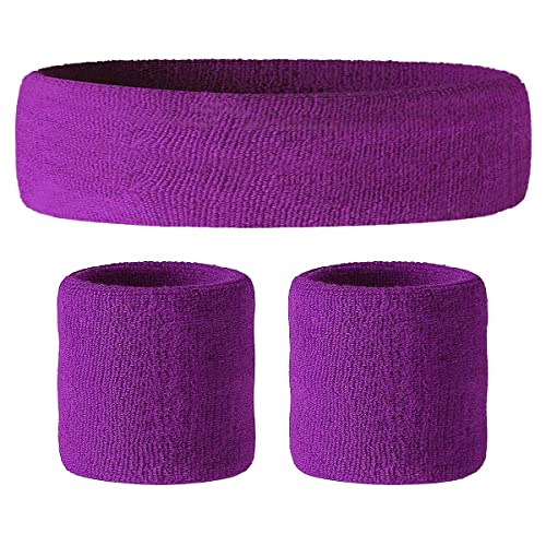VENI MASEE Sweatband Set - Sports Headband Wrist Striped Sweatbands Terry  Cloth Wristband Athletic Exercise Basketball 6f7377eb5ae