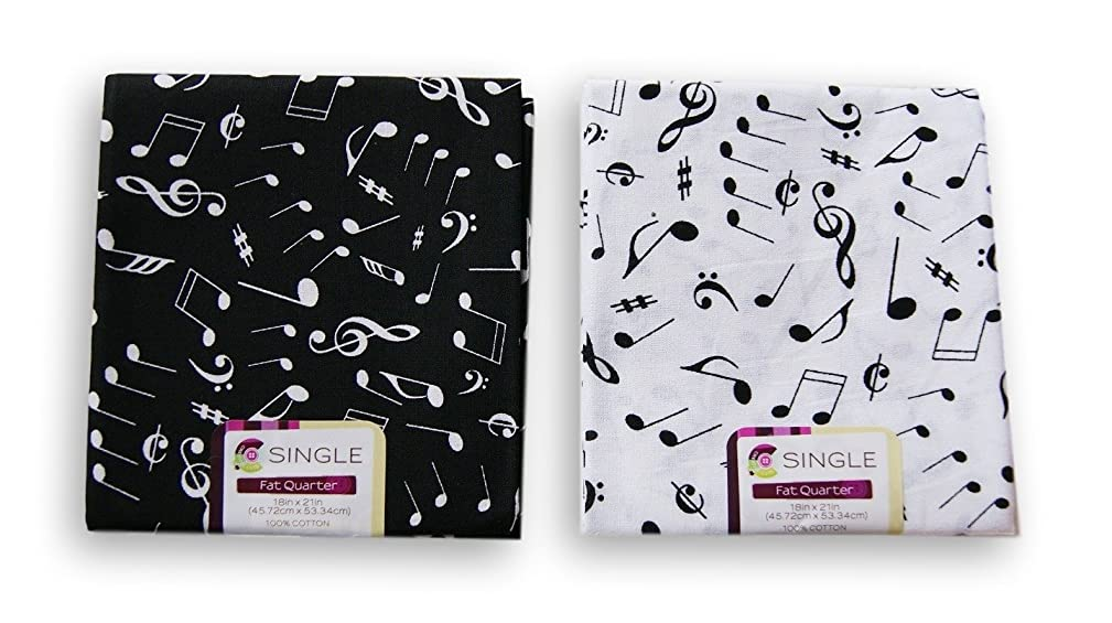 Creative Cuts Music Notes Fat Quarters Bundle - Black and White Pattern Theme