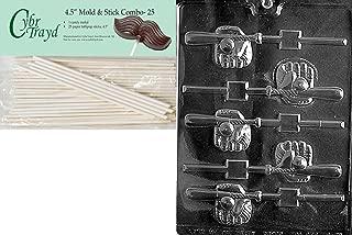 Cybrtrayd 45St25-S079 Baseball Bat, Glove, Ball Pop Sports Chocolate Candy Mold with 25-Pack 4.5-Inch Lollipop Sticks
