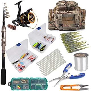 Dr.Fish Fishing Rod and Reel Combos Spinning Complete Package Outfit Kit Lines Lure Bait Accessories Fishing Bag Gear Organizer 2 Size