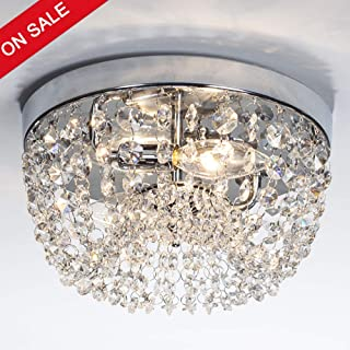 GLANZHAUS Small Style 984 Chrome Finish Clear Cystal Chandelier 2 Light Flush Mount
