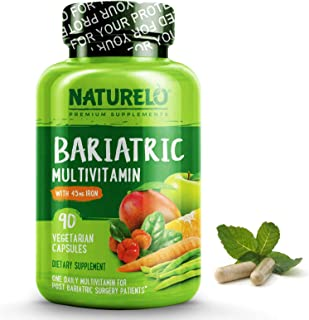 NATURELO Bariatric Multivitamin One Daily with 45 mg Iron - Best Supplement for Post Gastric Bypass Surgery Patients - Natural Whole Food Nutrition - 90 Veggie Capsules