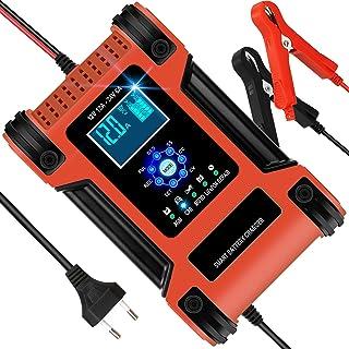 Chargeur de Batterie Voiture Moto 12A 12V/24V, Chargeur Batterie Intelligent Automatique avec Réparation Fonction et LCD É...