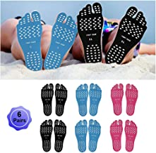 WLBON Beach Foot Pads Barefoot Adhesive Invisible Shoes Stick on Foot Pad Stickers Stick on Soles Anti-Slip Waterproof Silicone Unisex Footing Pad for Surfing Swimming 6 Pack Black Blue Rose L XL