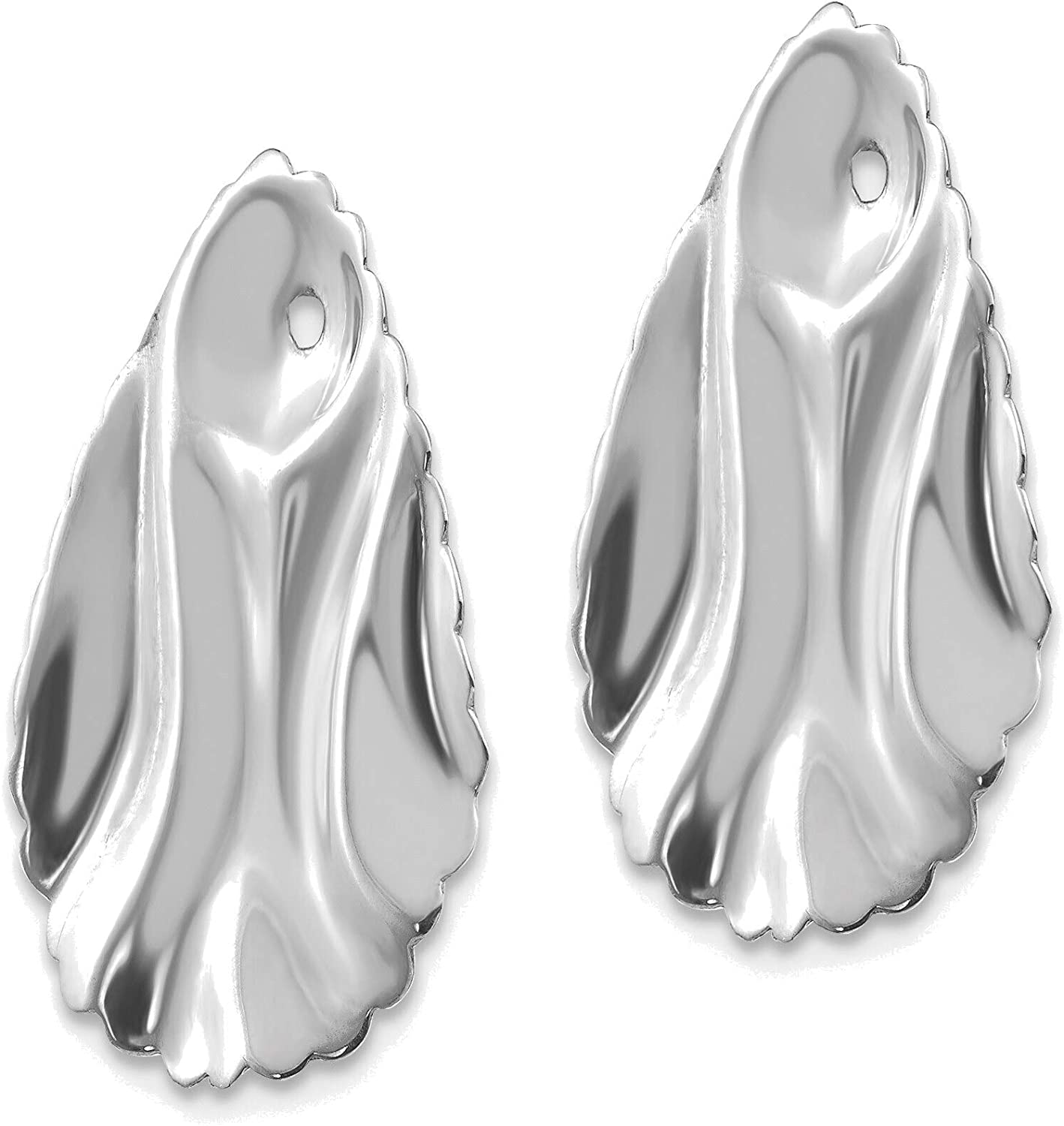 14kt White Gold Polished Hammered Oval Earring Jackets