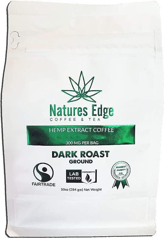 Natures Edge Fair Trade Shade Grown Hemp Oil Coffee With MCT Oil Dark Roast Ground 10 Oz Bag 300