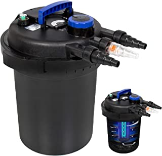 Best Choice Products 4000L Pressure Bio Filter for Pond w/ 13W UV Sterilizer Purifier Light, Flow Indicator - Black/Blue