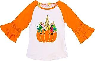 AMK Baby Toddler Little Girls Fall Thanksgiving Halloween Raglan T-Shirt Fashion Tee Top - 3/4 Sleeves