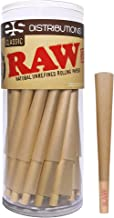 RAW Cones Classic King Size | 50 Pack | Natural Pre Rolled Rolling Paper with Tips &..