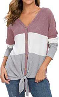 IWOLLENCE Womens Waffle Knit Tunic Blouse Tie Knot Long Sleeve Henley Tops Triple Color Block T-Shirt