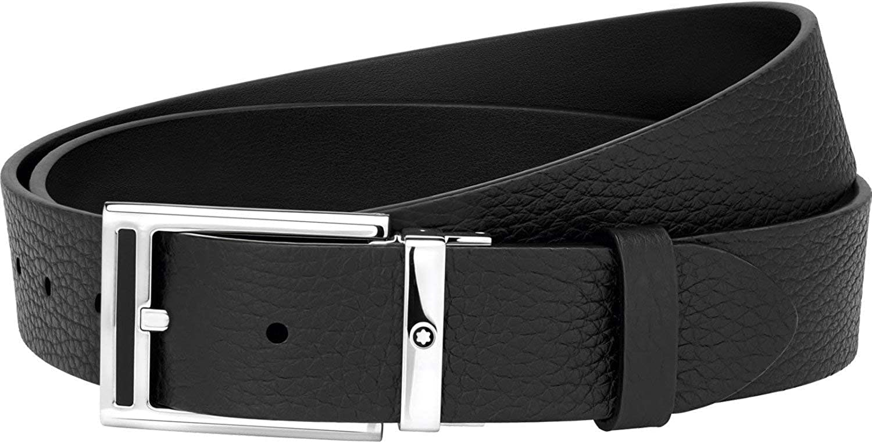 Montblanc Men's Cut-to-size Casual Belt Leather Black Medium