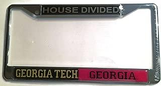 GT Georgia Tech Yellow Jackets - UGA Georgia Bulldogs House Divided Car Tag License Frame