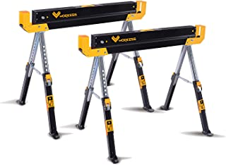 Adjustable Height (24-32 in.) Steel Sawhorse and Jobsite Table – 1300 lb. Capacity -Two Pack