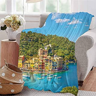 Italy Rugged or Durable Camping Blanket Portofino Landmark Aerial Panoramic View Village and Yacht Little Bay Harbor Warm and Washable W57 x L74 Inch Blue Green Yellow