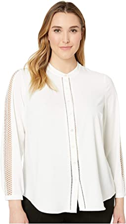 Plus Size French Crepe Woven Sleeve Button Down Blouse