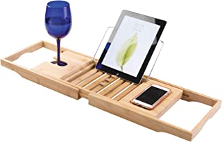 InterDesign Formbu Bathtub Caddy with Reading Tray, Wine, Tablet and Phone Holder - Natural