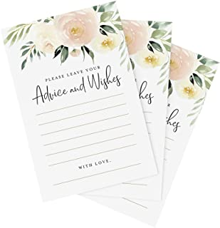 Sponsored Ad - Bliss Collections Blush Floral Advice and Wishes Cards for the Bride and Groom, Perfect for: Bridal Shower,...