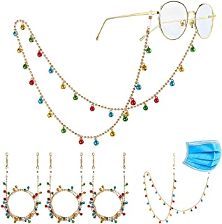 Bead Mask Lanyard Christmas Jingle Bell Glasses Chain Necklace Face Cover Holder