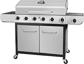 Royal Gourmet SG6002 Cabinet Propane Gas Grill with Side Burner, 71,000 BTU, 6-Burner, Stainless Steel